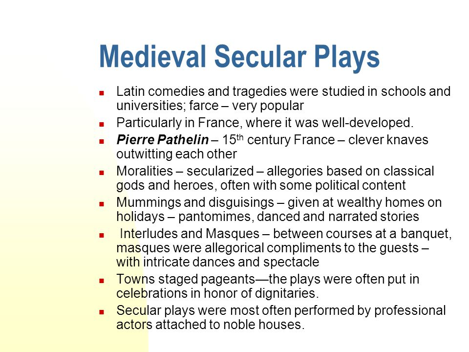 Medieval Secular Plays
