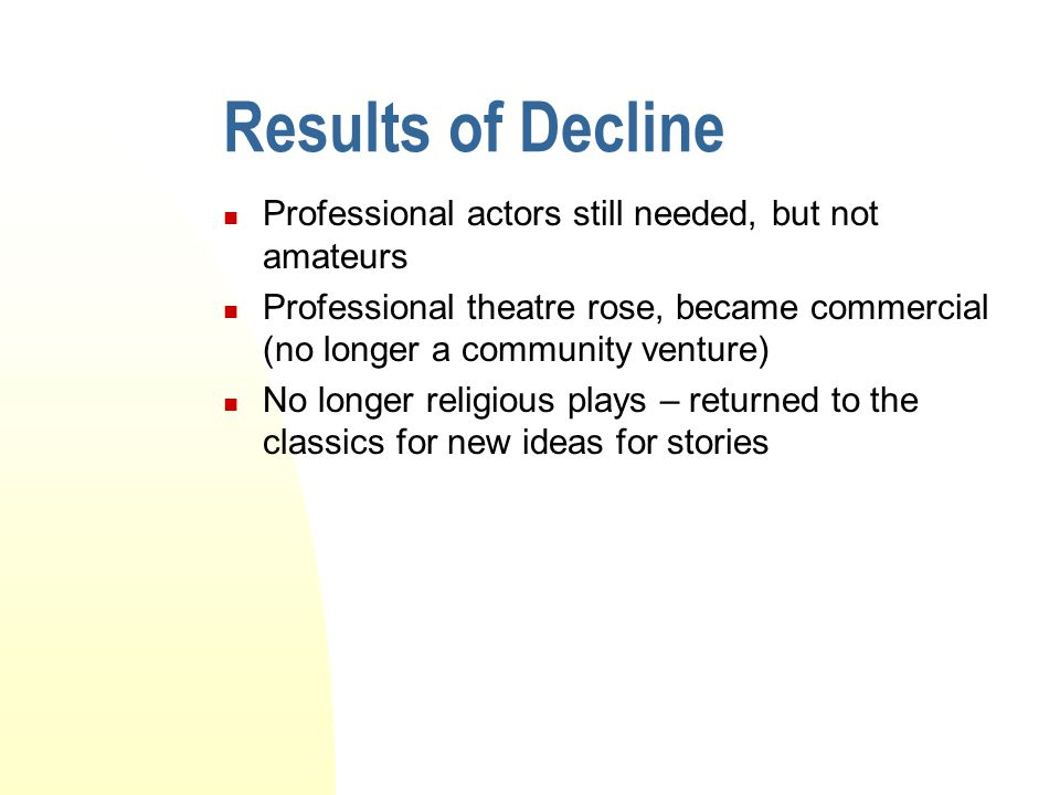Results of Decline Professional actors still needed, but not amateurs