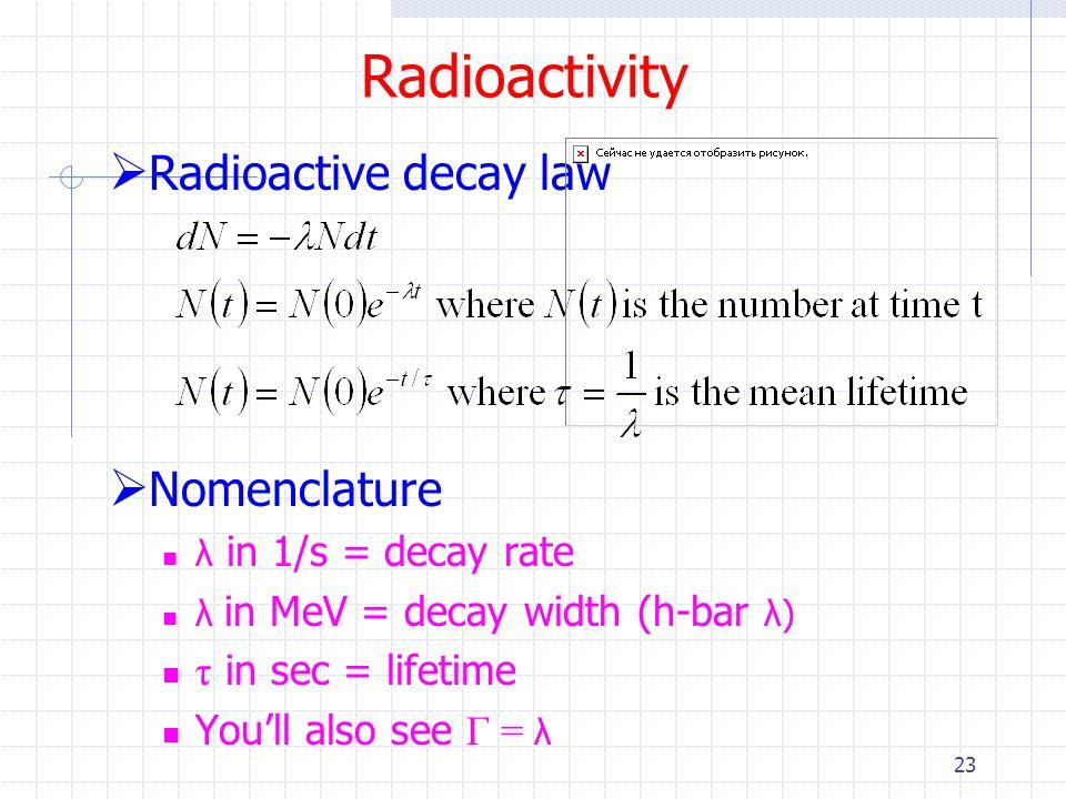 Radioactivity Radioactive decay law Nomenclature τ in sec = lifetime