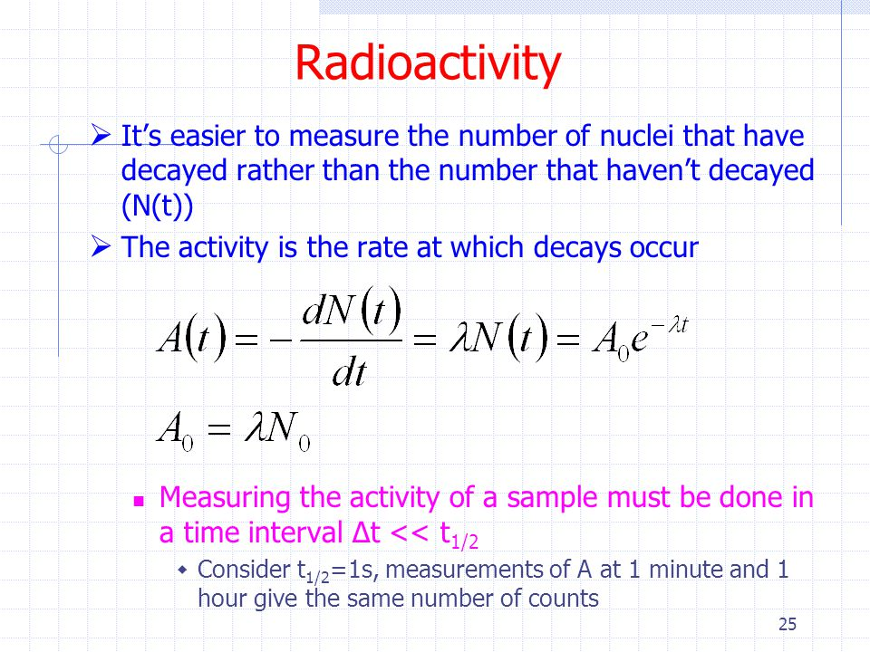 Radioactivity It's easier to measure the number of nuclei that have decayed rather than the number that haven't decayed (N(t))