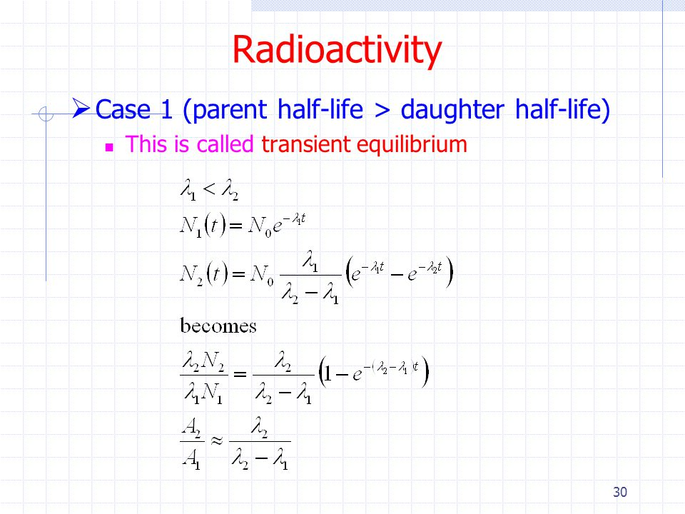 Radioactivity Case 1 (parent half-life > daughter half-life)