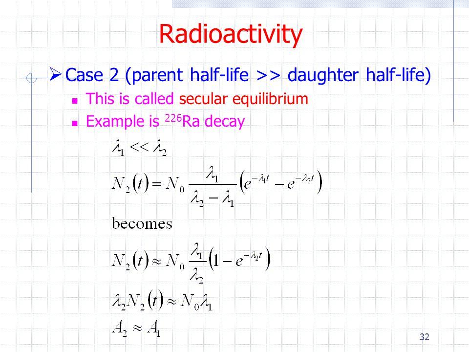 Radioactivity Case 2 (parent half-life >> daughter half-life)