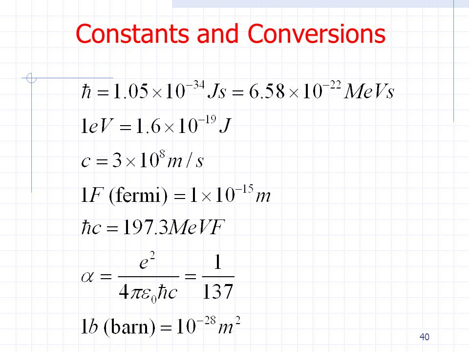 Constants and Conversions