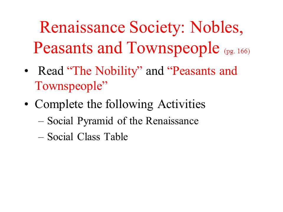 Renaissance Society: Nobles, Peasants and Townspeople (pg. 166)