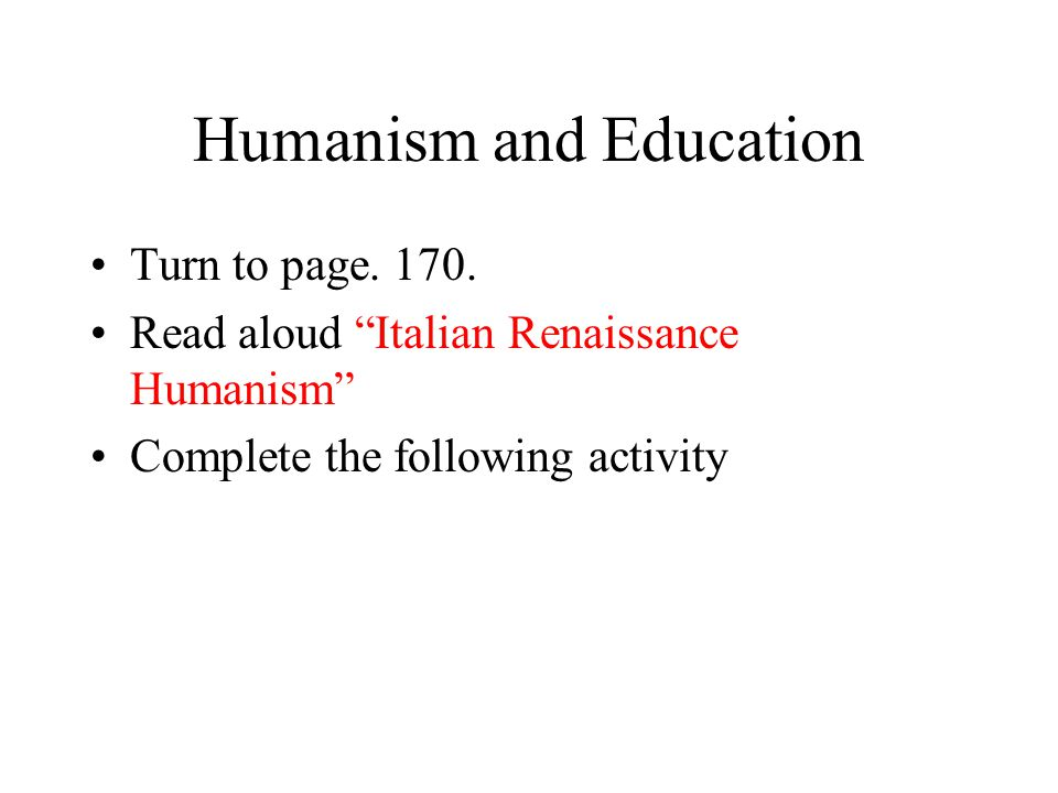 Humanism and Education