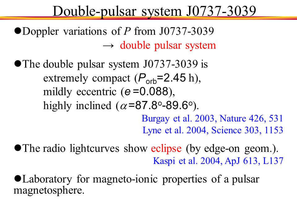 Double-pulsar system J0737-3039