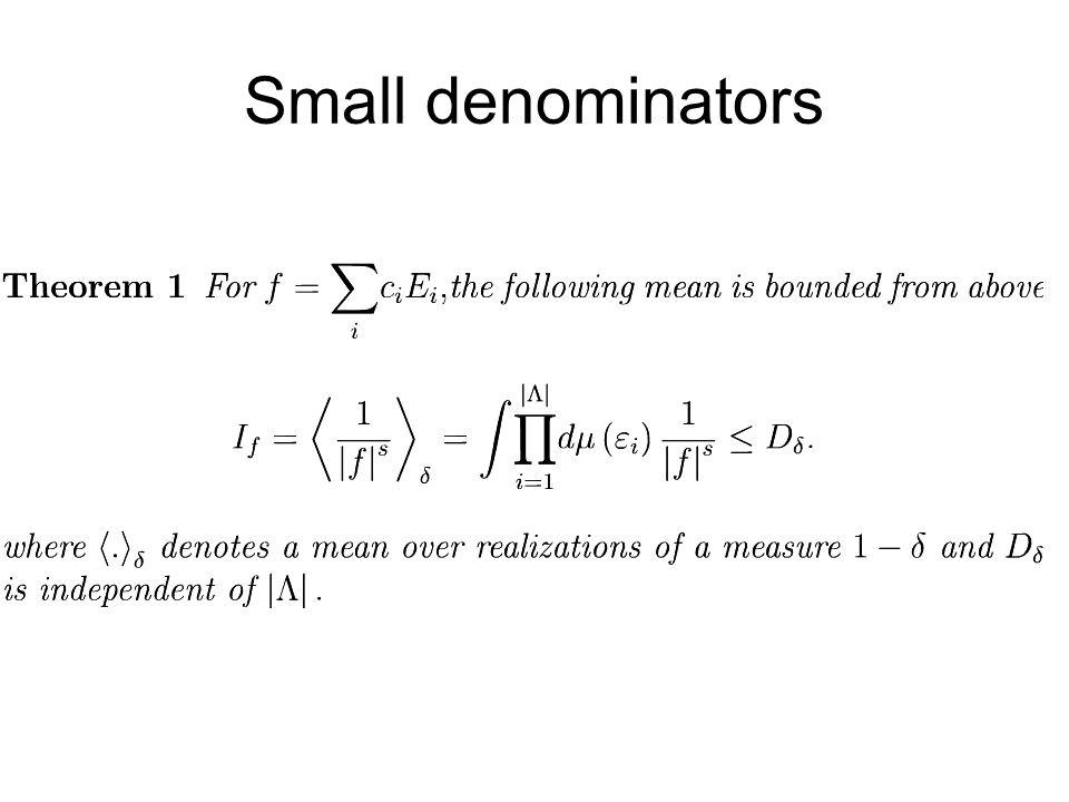 Small denominators