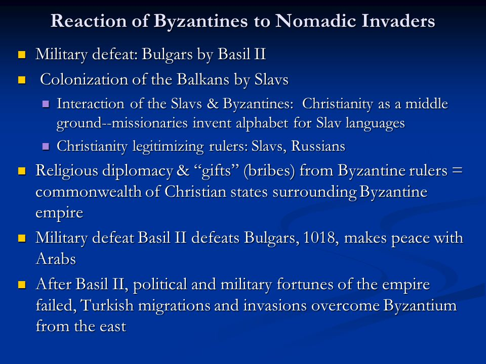 Reaction of Byzantines to Nomadic Invaders