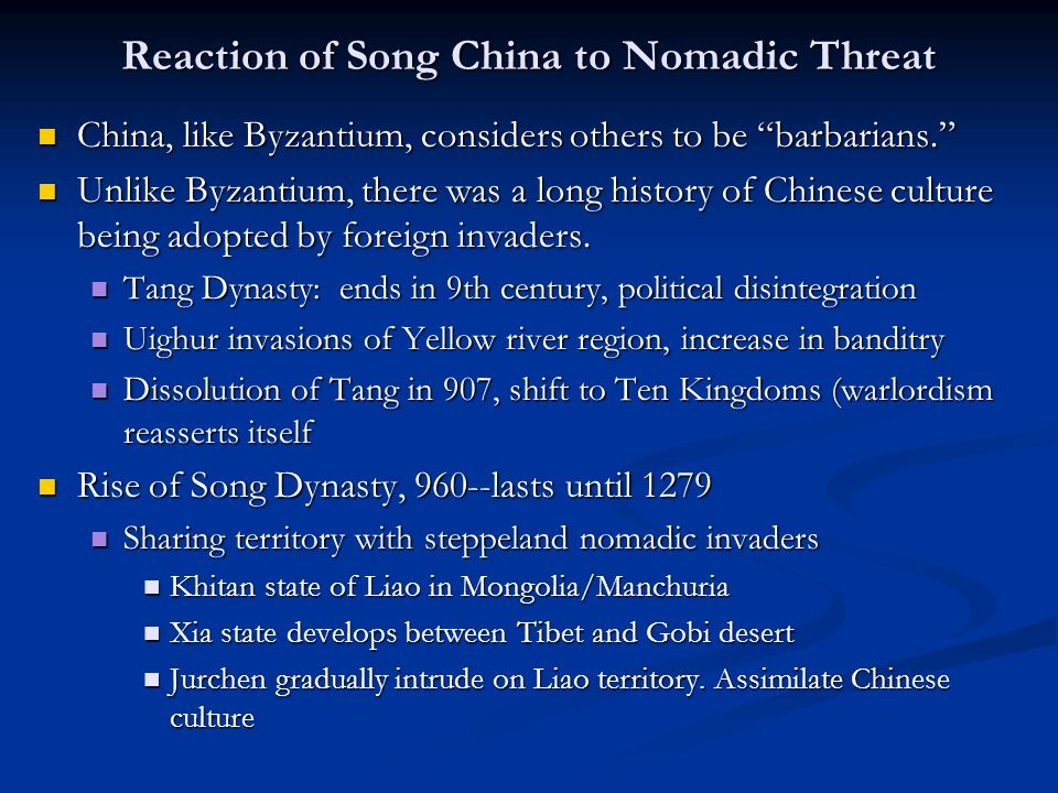 Reaction of Song China to Nomadic Threat