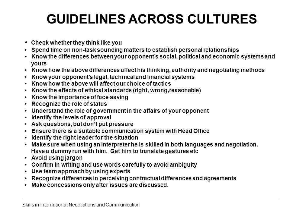 GUIDELINES ACROSS CULTURES