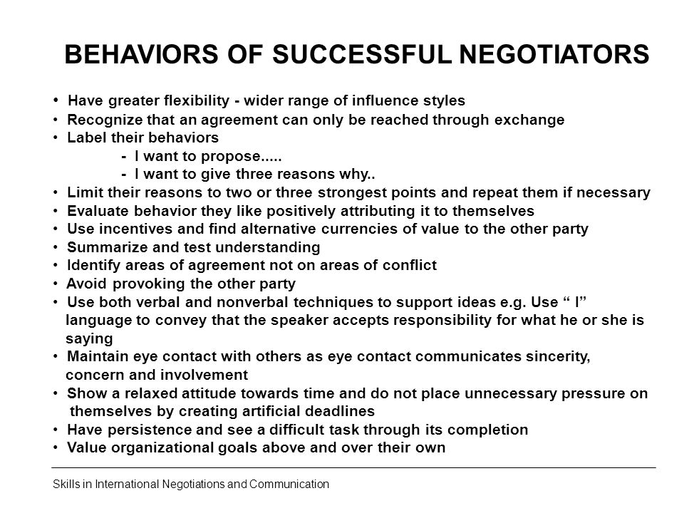 BEHAVIORS OF SUCCESSFUL NEGOTIATORS