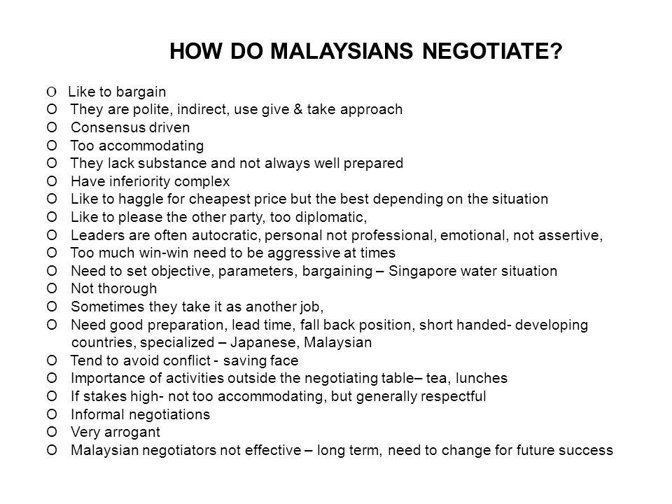 HOW DO MALAYSIANS NEGOTIATE