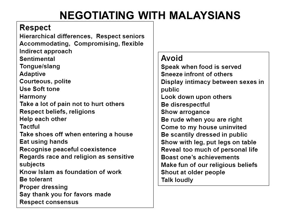 NEGOTIATING WITH MALAYSIANS