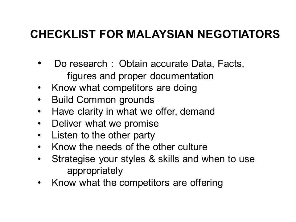 CHECKLIST FOR MALAYSIAN NEGOTIATORS