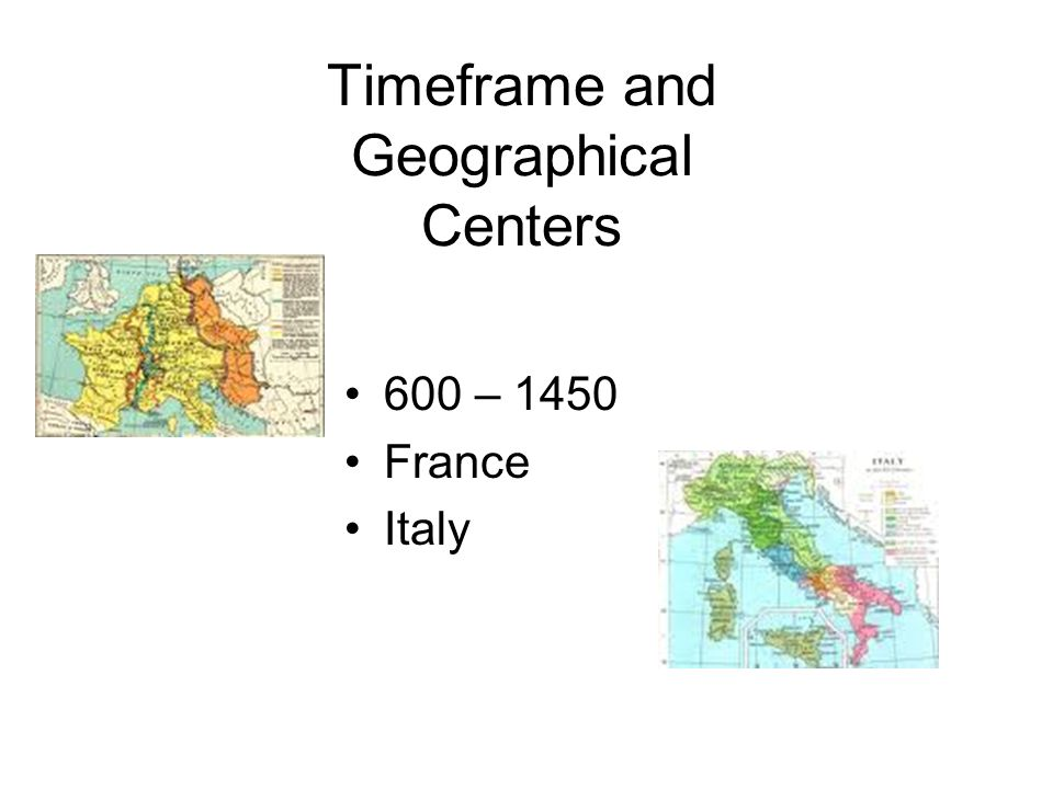 Timeframe and Geographical Centers