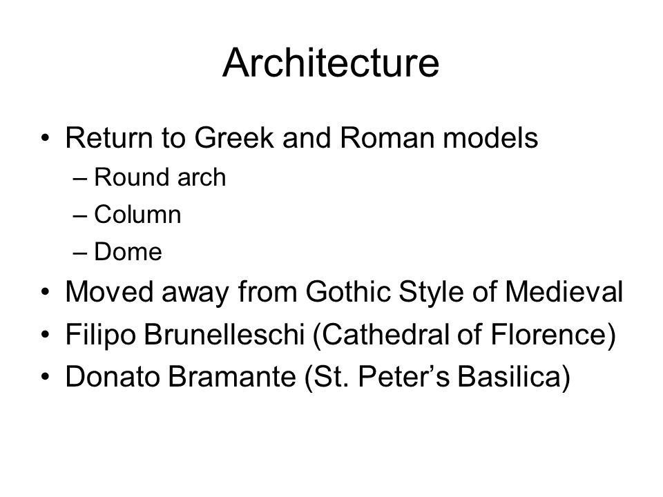 Architecture Return to Greek and Roman models