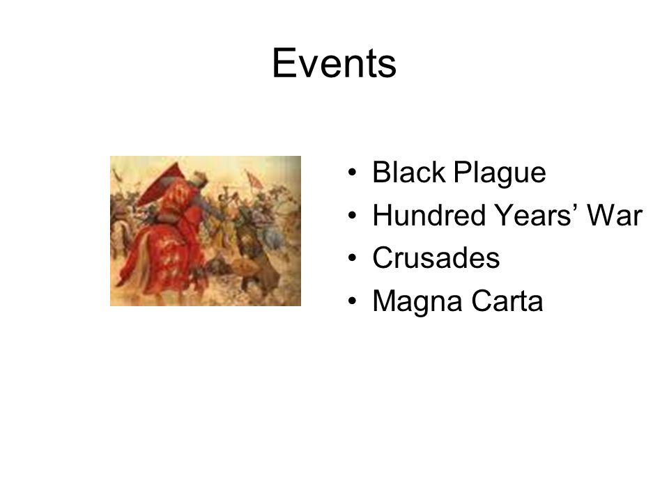 Events Black Plague Hundred Years' War Crusades Magna Carta