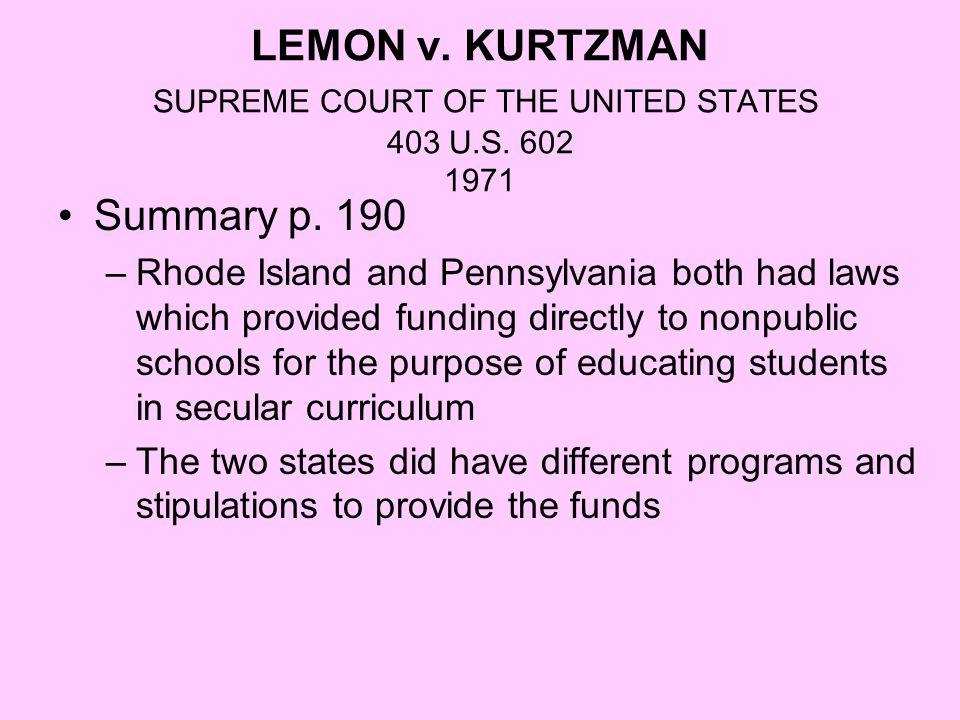 LEMON v. KURTZMAN SUPREME COURT OF THE UNITED STATES 403 U.S. 602 1971