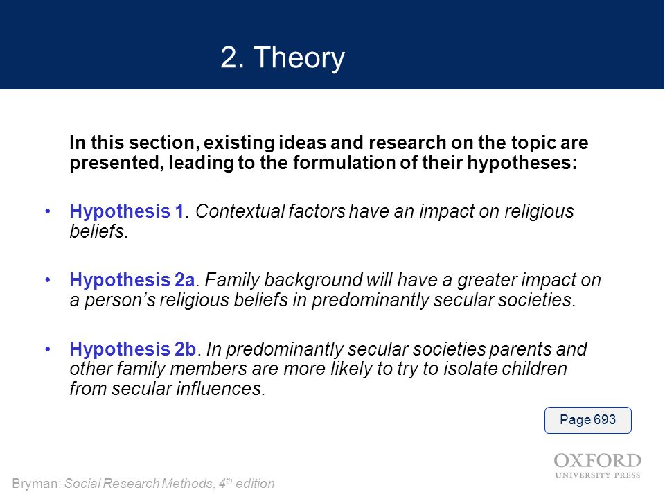 2. Theory In this section, existing ideas and research on the topic are presented, leading to the formulation of their hypotheses: