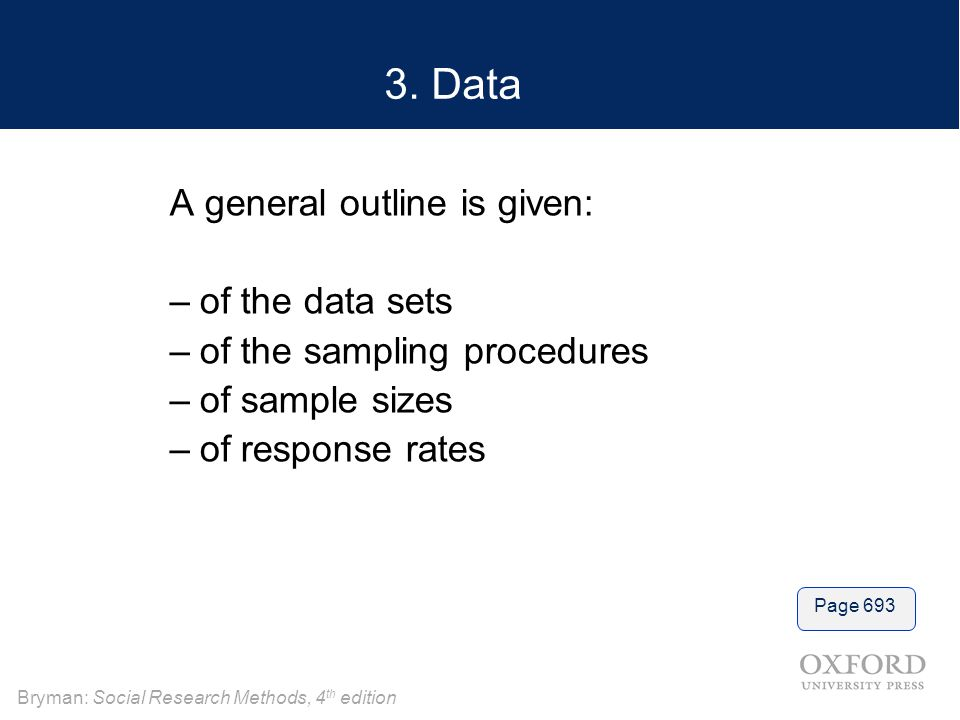 3. Data A general outline is given: of the data sets