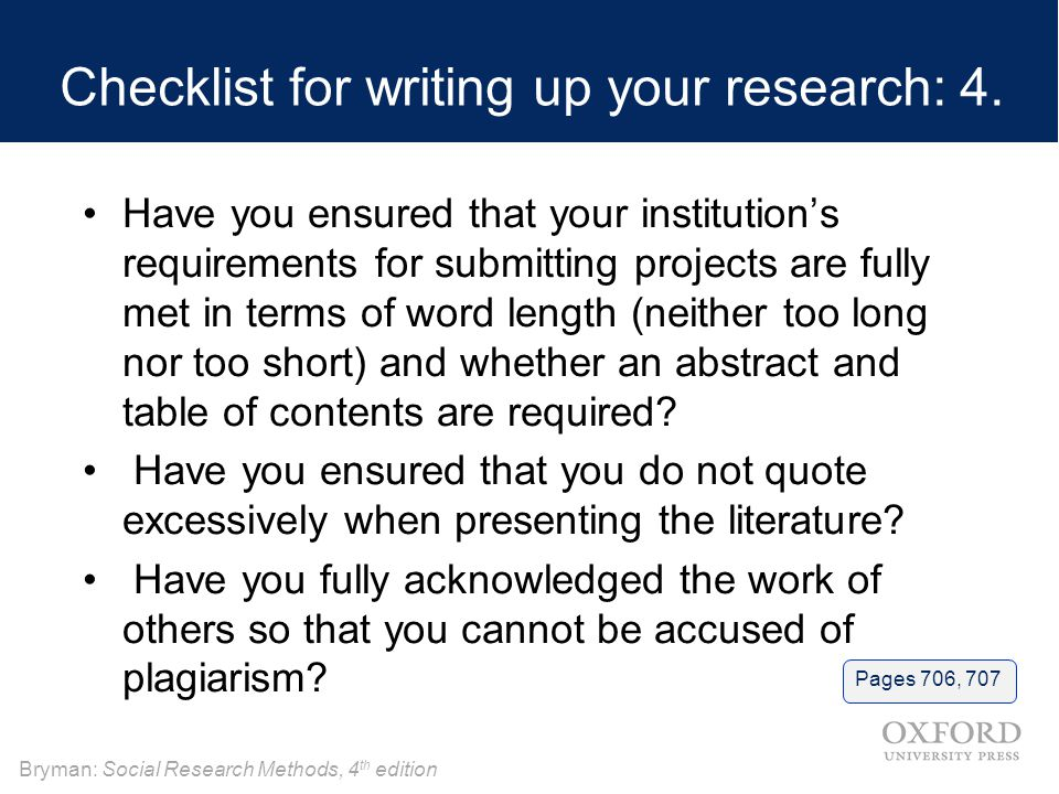 Checklist for writing up your research: 4.