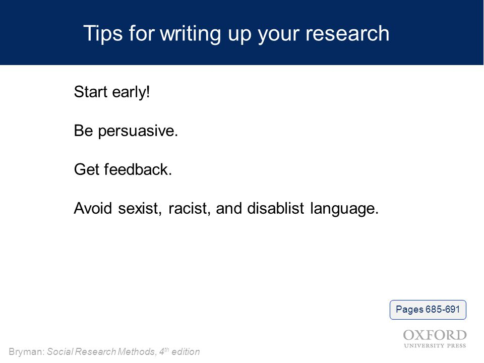 Tips for writing up your research