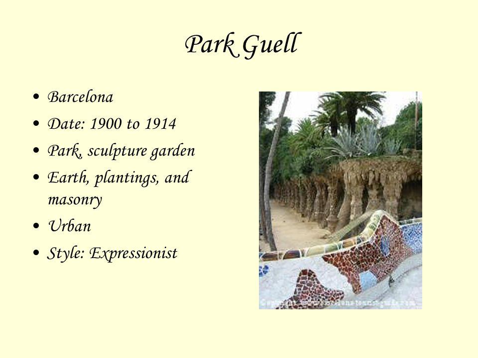 Park Guell Barcelona Date: 1900 to 1914 Park, sculpture garden
