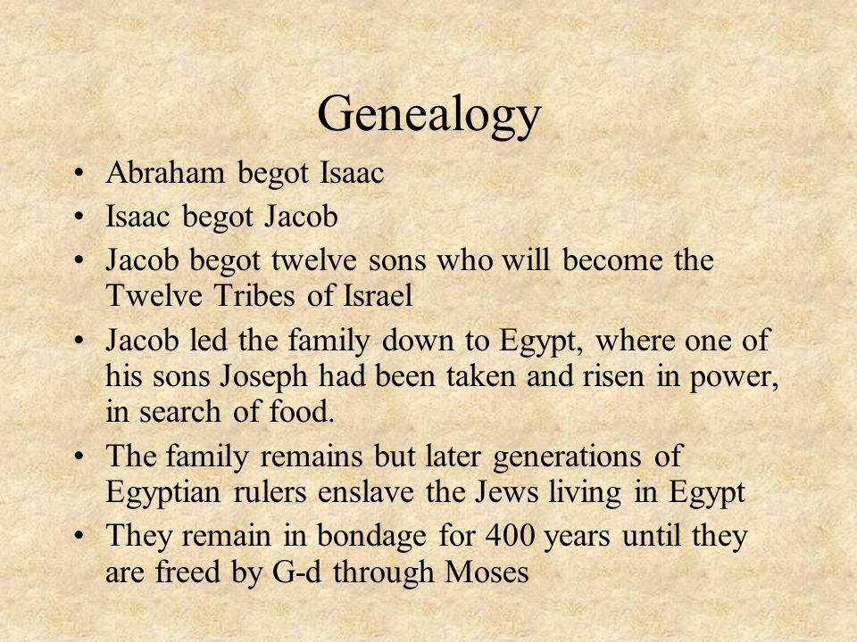 Genealogy Abraham begot Isaac Isaac begot Jacob