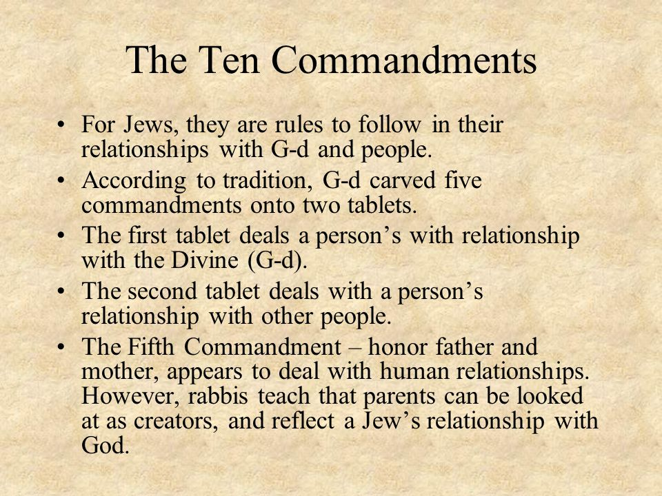The Ten Commandments For Jews, they are rules to follow in their relationships with G-d and people.