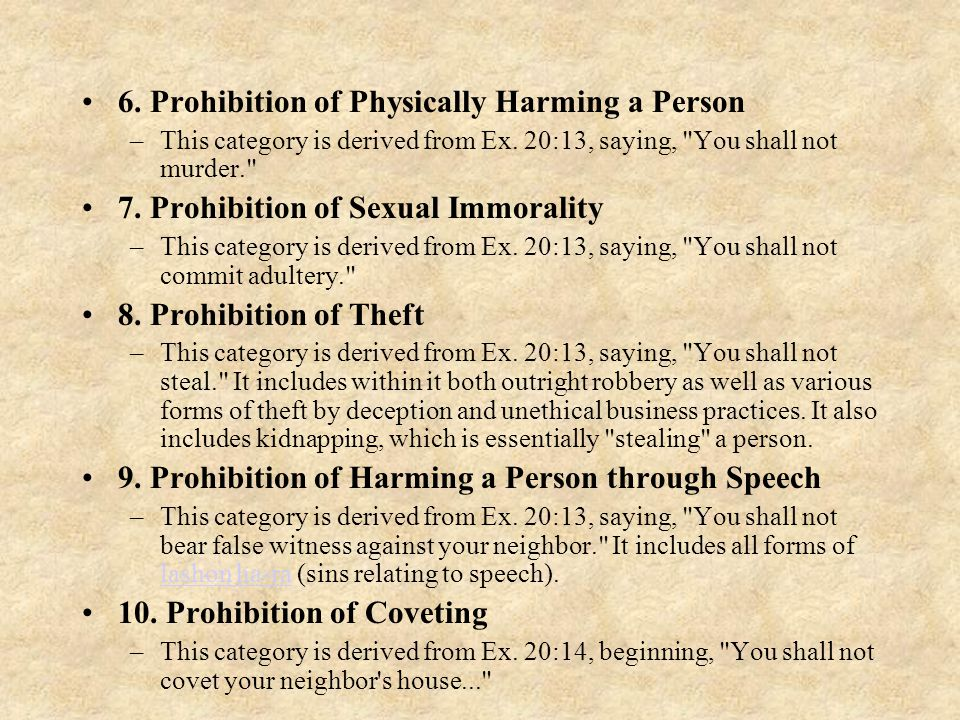 6. Prohibition of Physically Harming a Person