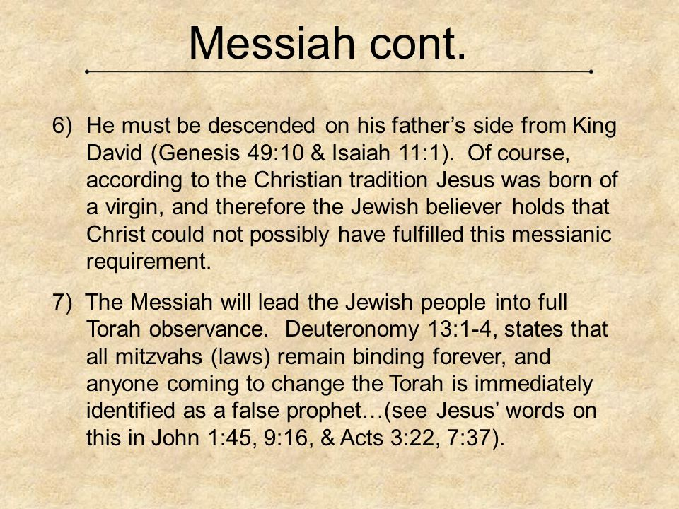 Messiah cont.