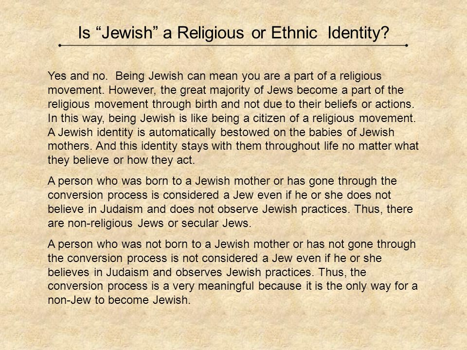Is Jewish a Religious or Ethnic Identity
