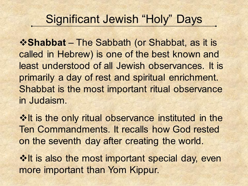 Significant Jewish Holy Days