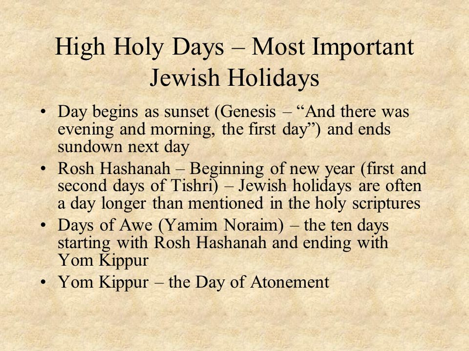 High Holy Days – Most Important Jewish Holidays