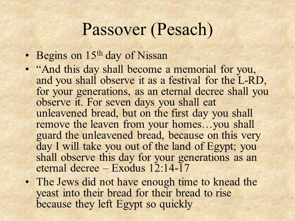 Passover (Pesach) Begins on 15th day of Nissan