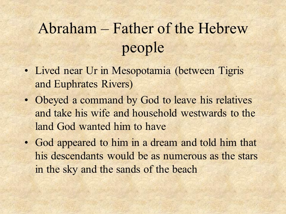 Abraham – Father of the Hebrew people