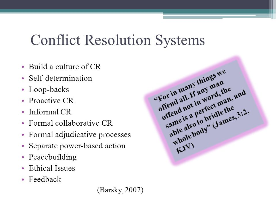 Conflict Resolution Systems