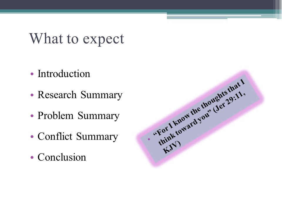 What to expect Introduction Research Summary Problem Summary
