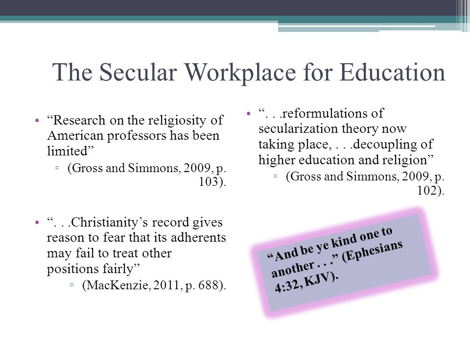 The Secular Workplace for Education