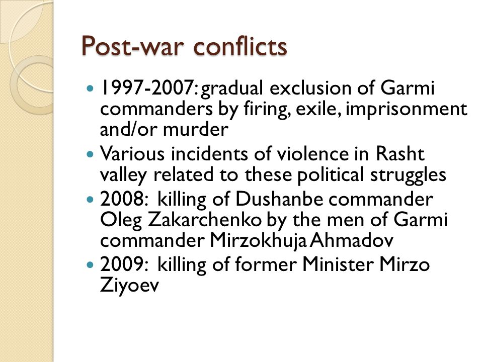 Post-war conflicts 1997-2007: gradual exclusion of Garmi commanders by firing, exile, imprisonment and/or murder.
