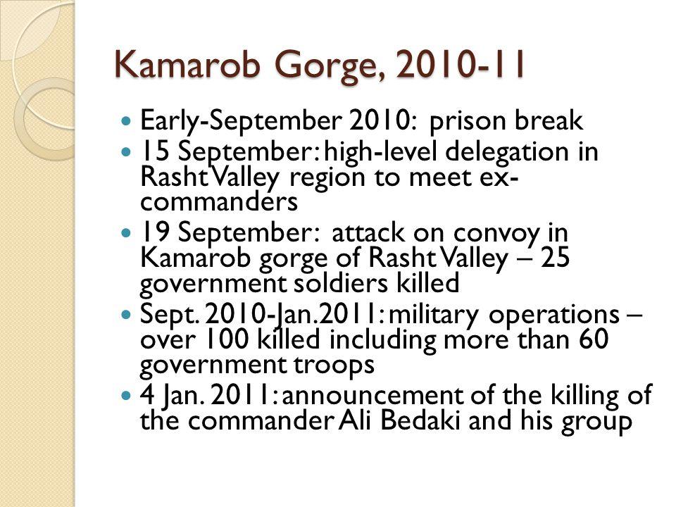 Kamarob Gorge, 2010-11 Early-September 2010: prison break