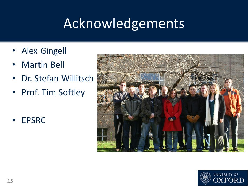 Acknowledgements Alex Gingell Martin Bell Dr. Stefan Willitsch