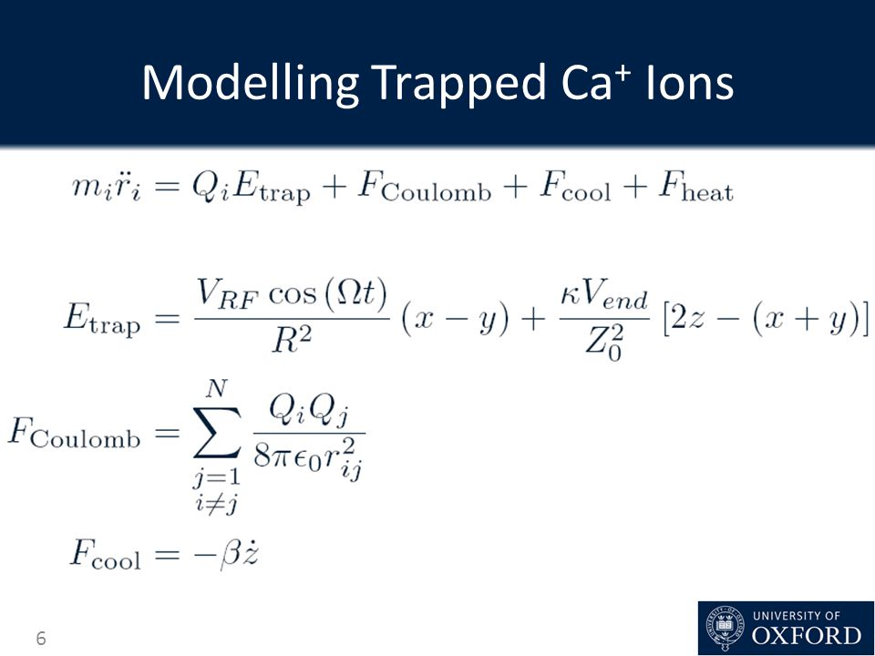 Modelling Trapped Ca+ Ions