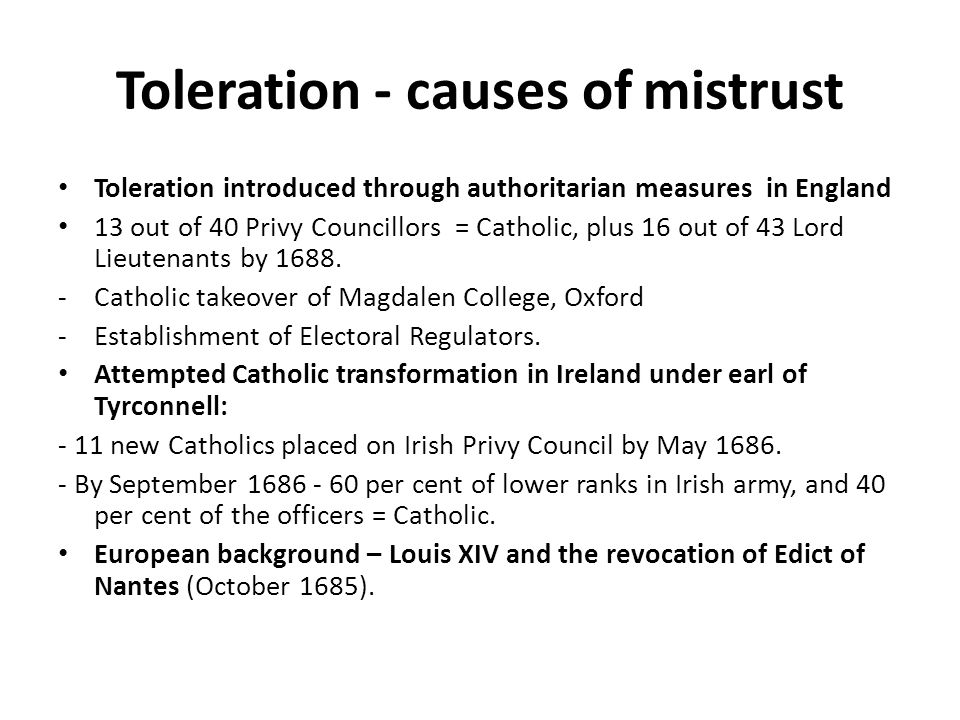 Toleration - causes of mistrust