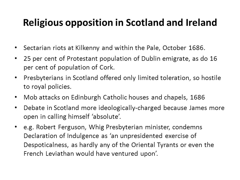Religious opposition in Scotland and Ireland