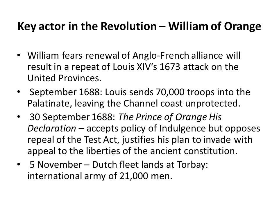 Key actor in the Revolution – William of Orange