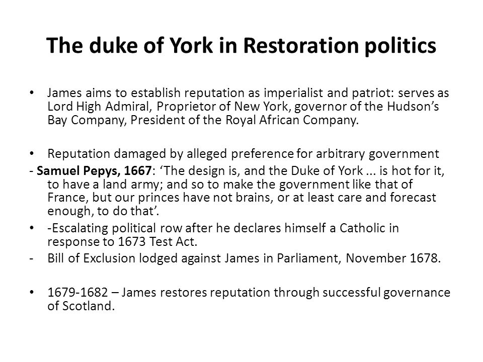 The duke of York in Restoration politics