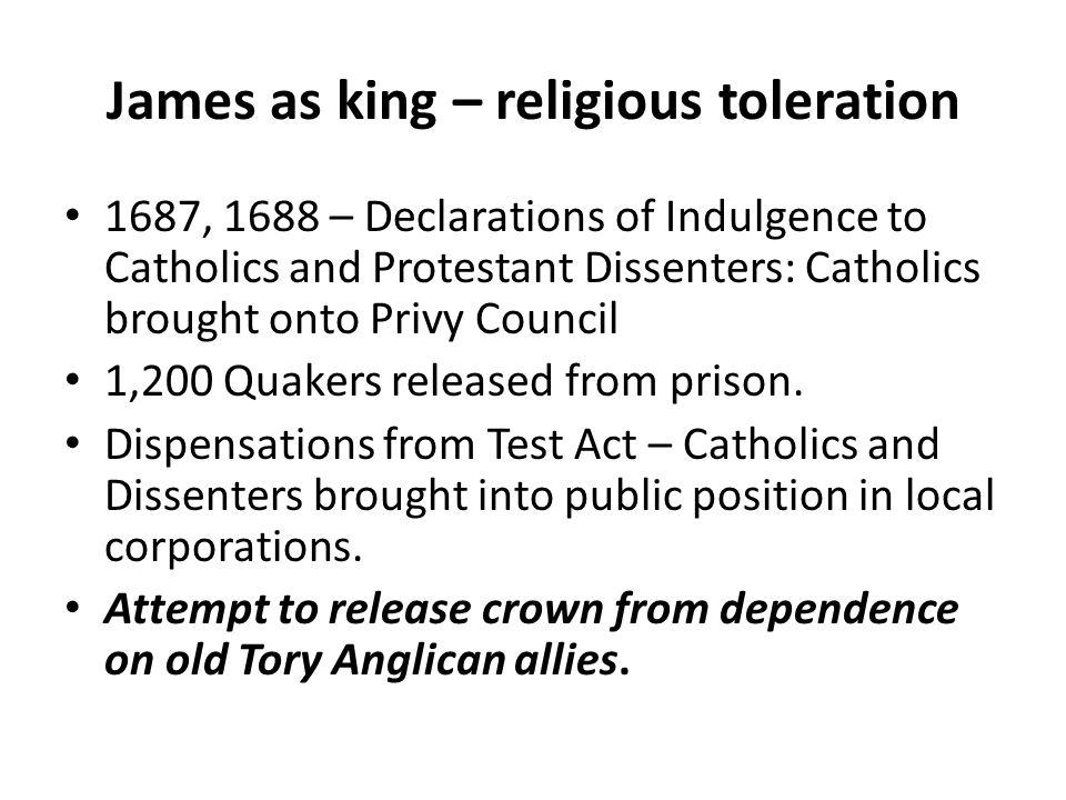 James as king – religious toleration