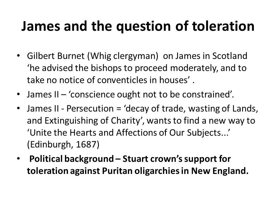 James and the question of toleration