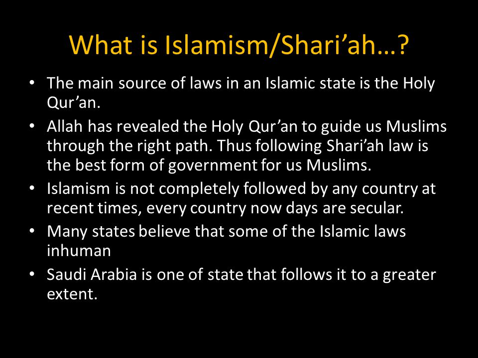 What is Islamism/Shari'ah…